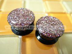 "5/8"" 16mm Glitter Pink Screw Flesh Plugs"