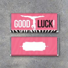 Gymnastics GOOD LUCK Candy Bar Wrappers. Great for gymnastics meets! By Studio 120 Underground, $5.