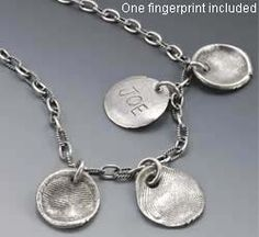Fingerprint Collection Necklace - not too difficult to do with precious metals clay? Personalized Necklace, Personalized Items, Special Gifts For Mom, Precious Metal Clay, Precious Metals, Bracelets, Fingerprints, Silver, Mothers