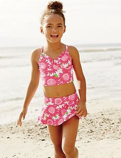 Two-piece swimwear for girls that's mom approved: sunflower suit at Hanna Andersson in 3 colors.