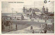 Central Pier, Blackpool London Street Scene British Double Decker Bus Vintage Postcard 1950's #Butterflyspinn