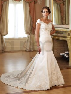 Mermaid Satin Faced Taffeta Crumb Catcher Bodice Bateau Neckline Chapel Length Train Wedding Dresses (MB110234)