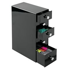 mDesign Office Supplies Desk Organizer for Paper Clips, Sticky Notes, Tape - 5 Drawers, Black Do It Yourself Organization, Office Supply Organization, Office Storage, Craft Organization, Storage Boxes, Storage Ideas, Desktop Drawers, Desktop Storage, Cute Office Supplies