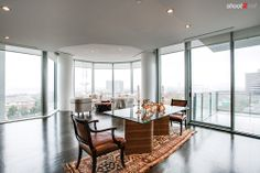 modern apartment with designer accents, high rise condo with a view