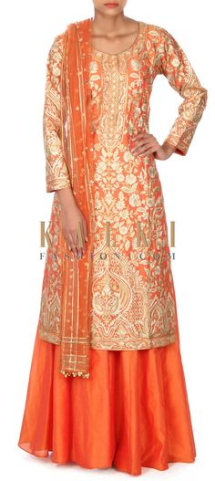 Buy this Orange straight suit adorn in zari embroidery only on Kalki