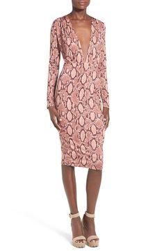 Snake Print Plunge Body-Con Dress