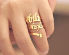 Personalized Double Gold Spiral Names Ring - Nanvo.com