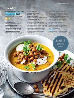 Get Recipe & Food ideas from Woolworths Fresh Magazine. Woolworths Fresh Magazine, Chickpea Soup, Ground Coriander, Greek Yoghurt, Pumpkin Soup, Chana Masala, Soup Recipes, Zucchini, Delish