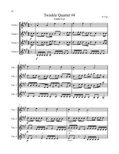 Violin Music- Twinkle Quartet: Here is a sample from the book Twinkle: Duets, Trios and Quartets by H. Figi. One of the reasons I love this high energy quartet arrangement is because it combines many different levels and styles into one piece and ensemble. Happy music making! www.MusicforYoungViolinists.com