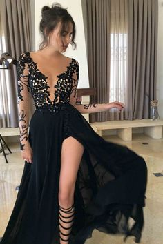 Sexy Black Long Sleeve Lace 2017 Prom Dress Evening Dresses PG341 #promdresses2017