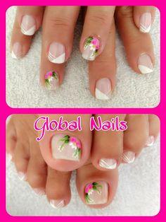Manicure Y Pedicure, Mani Pedi, Toe Nail Art, Art Nails, Summer Toe Nails, Nail Designs, Fingers, Roses, Pretty