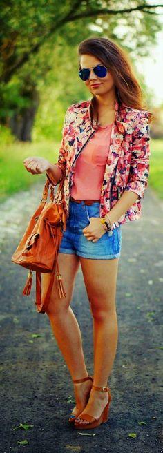 Denim Shorts Top Floral Blazer