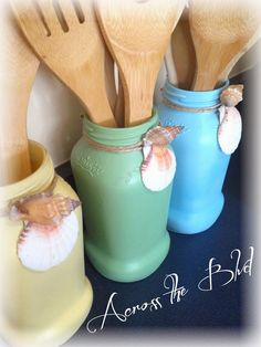 Across the Boulevard: Upcycled Jars as utensil holders with coastal flair