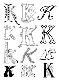 Lettering - Art Lettering - Hand Lettering -Typography - Calligraphy - Letters - and links to some nice coloring pages this is a great site! Doodle Lettering, Creative Lettering, Lettering Styles, Decorative Lettering, Lettering Ideas, Lettering Tutorial, Colouring Pages, Adult Coloring Pages, Coloring Books