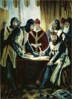 "King John (""Lackland"") of England signing the Magna Carta in the year 1215."