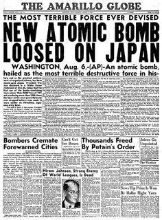 this news article was out when we used the atomic bomb on japan