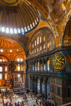 Hagia Sophia - Istanbul, Turkey  This building has been a church, a mosque and now a museum.  The Christian paintings were plastered over by the Muslims, perfectly preserving them, and are on display for all.