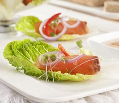 Sweet Gems™ Baby Cos Lettuce Heart Cups with Smoked Salmon and Spicy Sauce