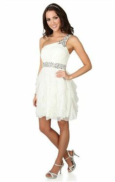 Deb Shops One Shoulder Short #Prom #Dress with Stone Waist and Tendril Skirt $60.00