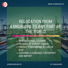 We offer. 👉 Relocation From Bangalore To Any Part Of The World 👉 International Courier 👉 Packing Of Export Cargo 👉 Freight Forwarding By Air or Ship 👉 Customs Clearance For Export and Import Freight Forwarder, Relocation Services, Packers And Movers, Mysore, Delivery, Packing, Ocean, Ship, India