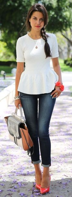 Cant get enough peplum! the entire outfit. Rich & Skinny Jeans, BCBG Satchel, Torn by Ronny Kobo Peplum Top Look Fashion, Spring Fashion, Womens Fashion, Jeans Fashion, Trendy Fashion, Coral Fashion, Modern Fashion, Fashion Shoes, Luxury Fashion