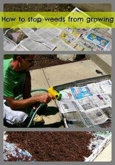 All you need to do is pull the current weeds out from your flower bed and discard them. Next you lay the newspaper down making sure to cover the entire area. using a hose wet down the newspaper. Make sure you get the newspaper completely wet. Lay down your mulch.