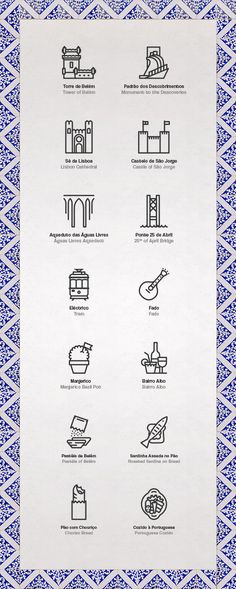 If you need a map of Lisbon, these would be great icons to go with it. Lisbon Icons by Sofia Ayuso, via Behance