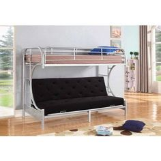 Nathaniel Home Jordan Twin Over C Futon Metal Bunkbed, Multiple Colors, Silver