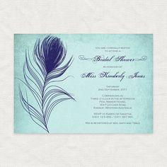 bridal shower invitation peacock feather custom printable diy wedding invite rehearsal dinner milestone birthday invitation turquoise