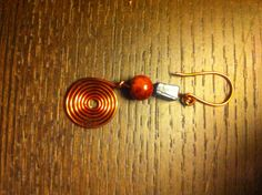 Copper wire with red and blue beads