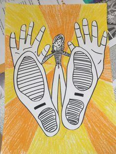 Meritta Lautamäki /Fb Alakoulun aarreaitta  Paperille seisomaan ja jalanjäljet, siihen päälle omat kädenjäljet ja perspektiivityylillä oma pieni vartalo siihen. Lapset tykkäsi kamalasti ja oli hauska piirtää omia jalkoja ja käsiä. Toinen paperi väritetään yksinkertaisesti kahdella värillä ja sit koko höskä leikataan irti ja liimataan siihen. School Art Projects, Art School, Art Activities For Kids, Art For Kids, Art Plastique, Art Lessons, Barn, Art Ideas, Children