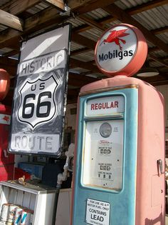 Mobilgas pump at Hackberry General Store along Route 66 in Arizona - highway66