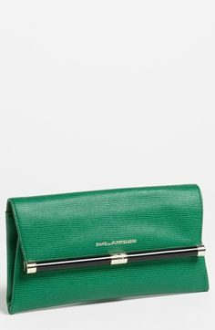 Diane von Furstenberg '440 - Envelope' Lizard Embossed Green Leather Clutch