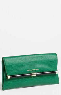 Diane von Furstenberg '440 - Envelope' Lizard Embossed Green Leather Clutch
