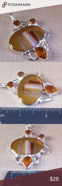 Gorgeous Bostwana agate citrine topaz pendant Big beautiful colors 925 stamped inlay stamped 925 free chain with purchase NWOT Jewelry Necklaces