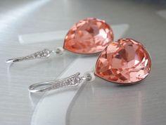Peach Earrings Crystal Swarovski