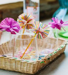 Give your party drinks the Hollywood treatment with homemade swizzle sticks. These pretties are made with cupcake wrappers and plastic stir sticks -- just cut, glue, and stir away!