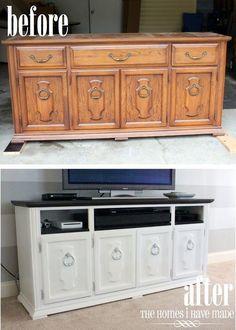 Dresser to entertainment center/storage.
