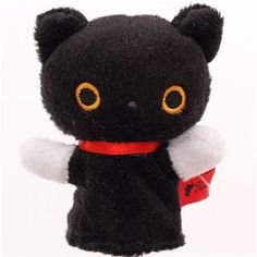 black mini Kutusita Nyanko cat finger puppet plushie