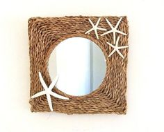 Starfish wall mirror Seagrass sea grass by HydrangeaHillVintage
