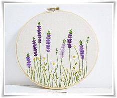 Lavender garden daisy garden hand embroidery in hoop wall art #handembroidery
