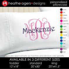 Monogram Pillowcase   Girls Personalized by HeatherRogersDesigns, $17.00