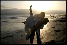 beach wedding photo by christine haslet of http://www.elopesandiego.com    home of the fun, relaxed beach elopements.....