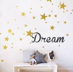Custom Text or Name With Bedroom Stars Wall Decals _ Nursery Star Wallpaper _ Star Room Stickers _ Dream _ Custom Room _ Primedecals Wall Stickers Wallpaper, Wallpaper Ceiling, Room Stickers, Star Wallpaper, Modern Wall Decals, Nursery Wall Decals, Nursery Decor, Bedroom Images, Bedroom Ideas