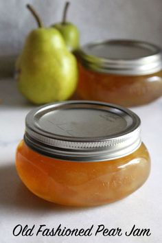 Old Fashioned Pear Jam Recipe ~ A simple old time recipe for homemade pear preserves with no added pectin. All you need is a bit of sugar and lemon to put up the pear harvest with the luscious pear spread. Pear Sauce, Apple Sauce, Pear Preserves, Canned Pears, Pear Recipes, Relish Recipes, Jelly Recipes, Pear Jam, Perennial Vegetables