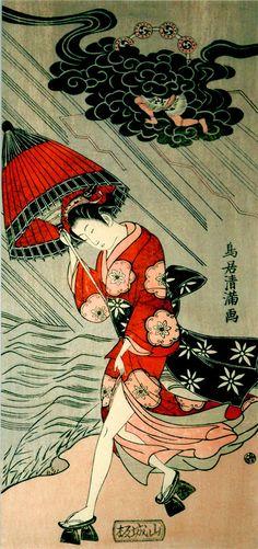 Untitled (Woman with umbrella in a storm) by Japanese painter & printmaker Torii Kiyomitsu (1735-1785). via Ian Claridge