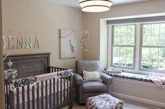 Nest Emerson Crib, Little Castle Belmont Glider, Custom Bebe chic bedding.