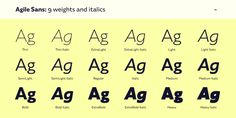 Agile Sans Font: Agile Sans is a contemporary humanist font family with classicist roots. Hence its name, Agile Sans suits many occasions from branding . Humanist Font, Bold Bold, Bold Italic, Type Design, Fonts, San, Desktop, Collection, Designer Fonts