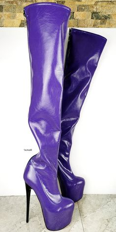 Purple Gloss Long High Heel Boots Long Boots With Heels, Leather Over The Knee Boots, Thick Heels, Sexy Boots, Cream High Heels, White High Heels, Super High Heels, Sexy High Heels, Knee High Platform Boots