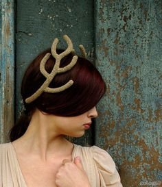 Golden Antlers Headpiece by celapiu on Etsy
